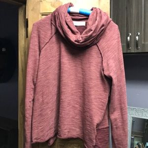 Free People maroon turtle cowl neck sweat shirt
